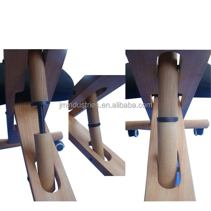ارتفاع قابل للتعديل تناسب طبيعية الخشب الركوع كرسي مريح