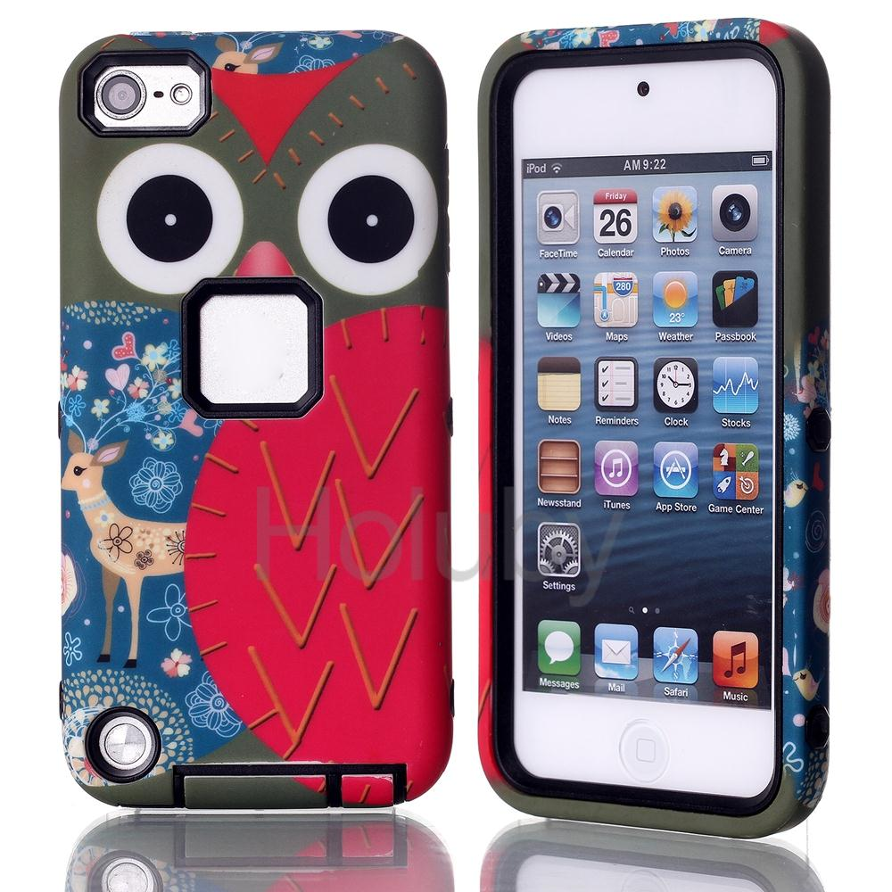 Owl Painting Detachable 3 in 1 Hybrid Hard PC + TPU Back Cover Case for iPod Touch 6 / 5
