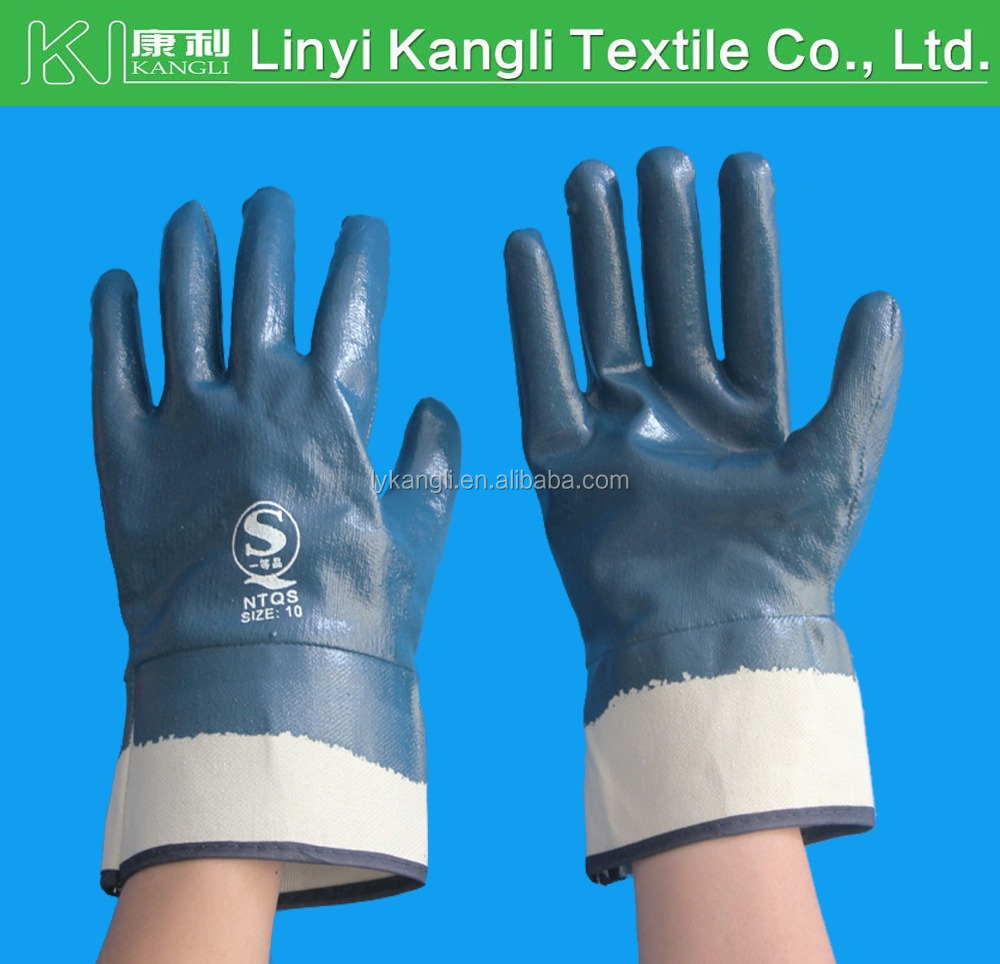 Safety cuff interlock blue nitrile coated gloves