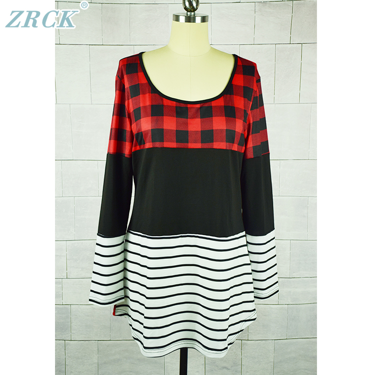 2018 Red black stitching plaid stripe round neck womens sweaters wear,women long sweater design