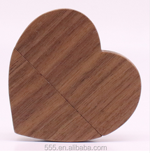 Customized Gift Wooden Heart Shaped 2.0 USB Flash Drives