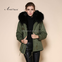 Wholesale fashion male &female real collar short fur coats warm black fox collars black faux fur hooded jacket
