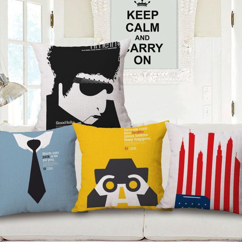 Free Shipping Cartoon Illustration Cotton Linen Fabric Decorative Cushion 45cm Hot Sale New Home Fashion Christmas Gift Pillow