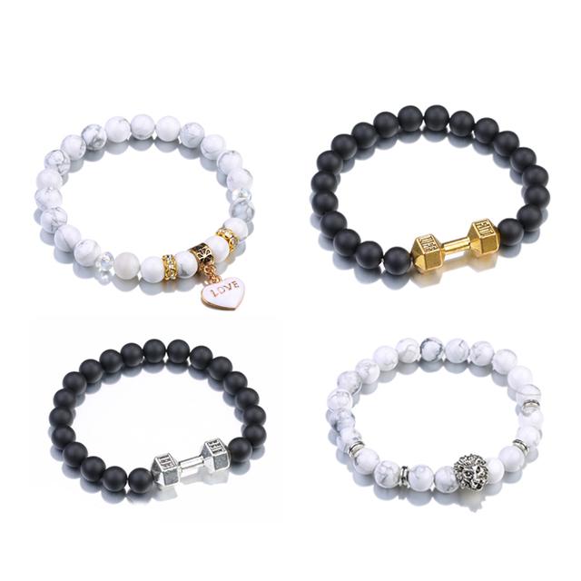 b57fef23922d 2017 Nuevo pulseras para las mujeres al por mayor Bumbbel Matt negro ágata  energía piedra turquesa