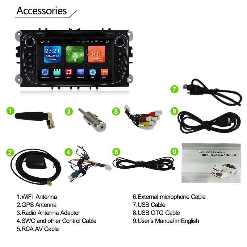 "7 ""auto Audio Systeem RK PX3 Android 7.1 GPS DAB + DVR voor Ford Mondeo S/C-Max Galaxy met 2G RAM WE7009"