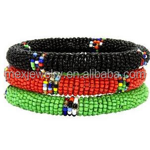 Maasai Bangles Bracelets Green, Red & Black