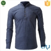 Latest fancy cotton men dress shirt design with stand collar
