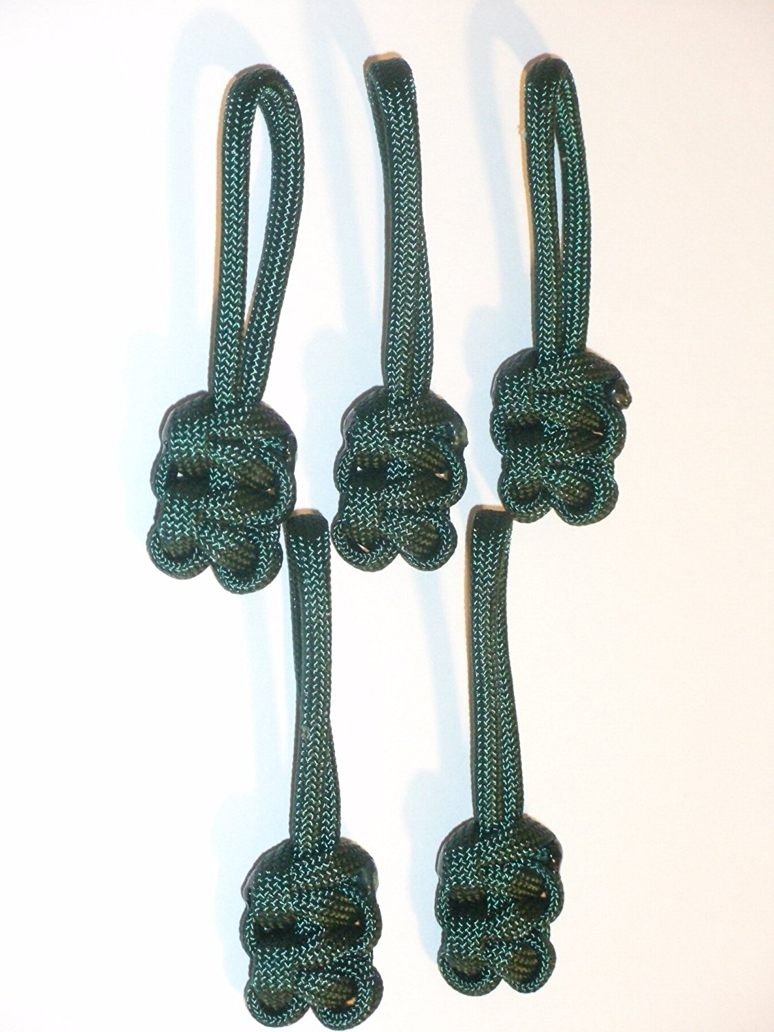 RedVex Paracord Zipper Pulls / Lanyards - Lot of 5 - ~2.5 - Dark Green