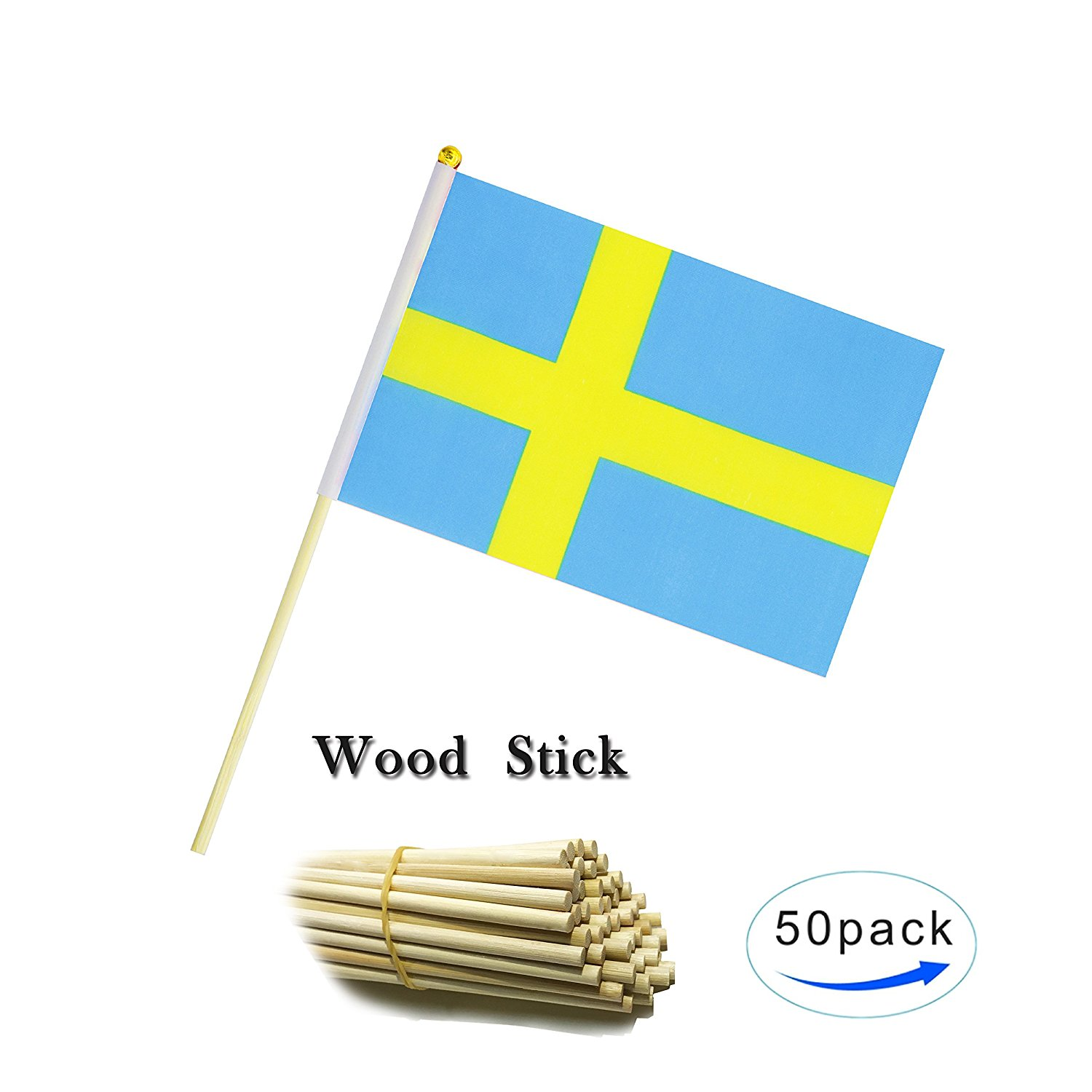 47c747305426 Get Quotations · Kind Girl Wood Hand Held Sweden Flag Swedish Flag Stick  Flag Small Mini Flag 50 Pack