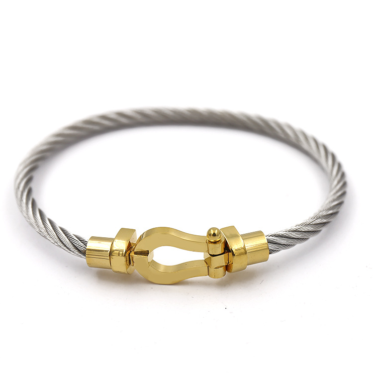 2018 new item Charm Clasp Magnetic Bracelet Stainless Steel Cable Wire Bangle For Men And Women Jewelry