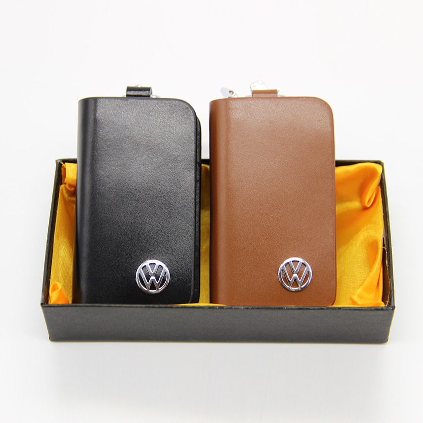 2 Colors Leather Key Case For Car Volkswagen, Vw Skoda