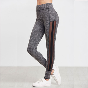 Amazon cross border new yoga pants, women's foreign trade seven points mesh stitching sports shorts, hip hiking pants