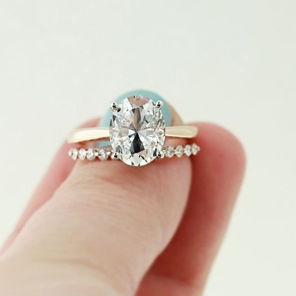 Stackable simple line layered handcrafted diamond lady finger ring