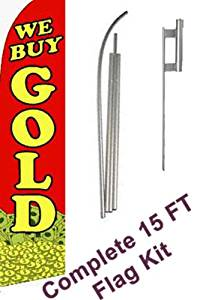 """NEOPlex - """"""""We Buy Gold"""""""" Complete Flag Kit - Includes 12' Swooper Feather Business Flag With 15-foot Anodized Aluminum Flagpole AND Ground Spike"""