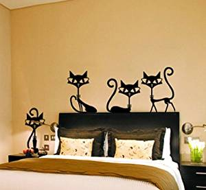 Dailinming 4 black fashion cat wall stickers/ living room decor/ tv wall decor/decor child bedroom wall stickers 65X30CM