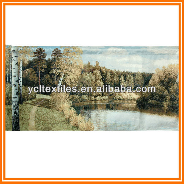Wholesale Fall golden yellowl countryside wall hangings large tapestries