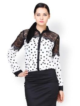 0aab3bf45d5e9 Women White   Black Polka Dot Printed Elegant Blouses In Lace - Buy ...