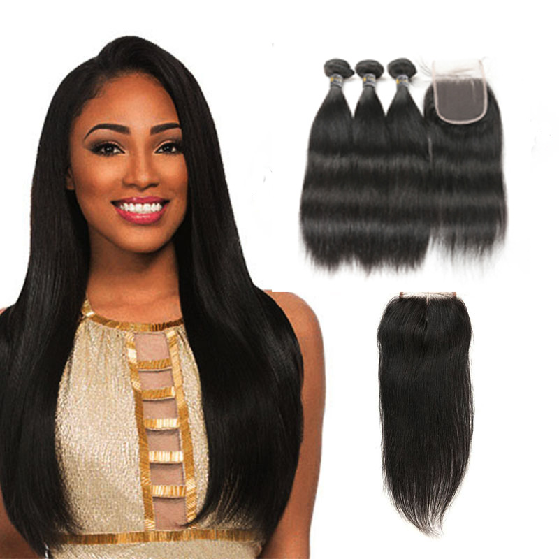 2019 New 36 Inch 8A Grade Brazilian Hair Bundles With Closure, Natural black 1b;1#;1b;2#;4# and etc