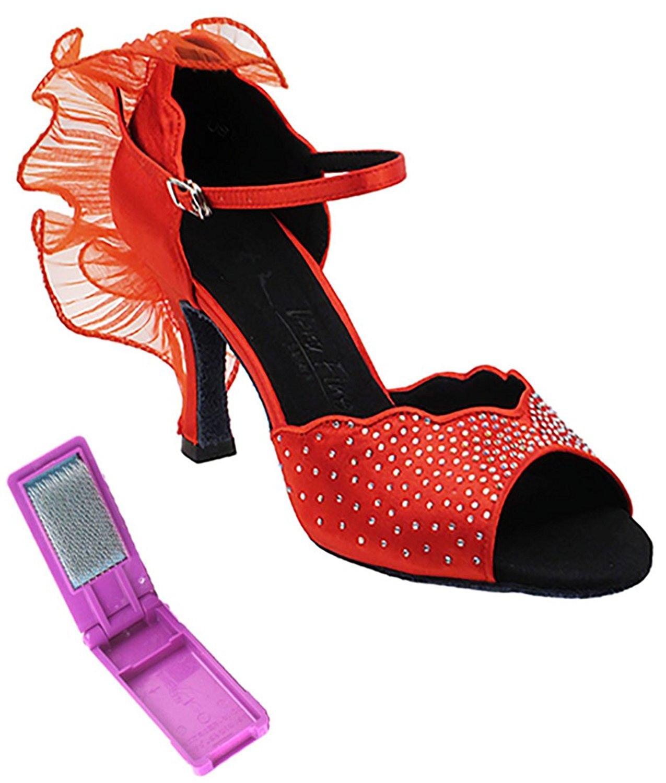 Dark Tan Satin 7.5 M US 3 Very Fine Womens Salsa Ballroom Tango Dance Shoes CD2076 Bundle with Back-of-Heel Cushions