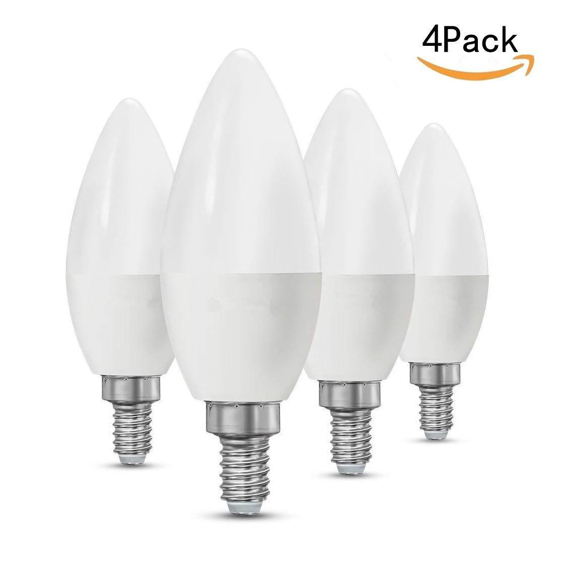 CTKcom 5W LED Candelabra Bulbs(4 Pack)- E14 Base Equivalent Warm White Light 3000K 430LM Candle Light Bulbs for Chandelier, Ceiling Fan Lights, Decorative Candle Light Bulb, AC85-265V
