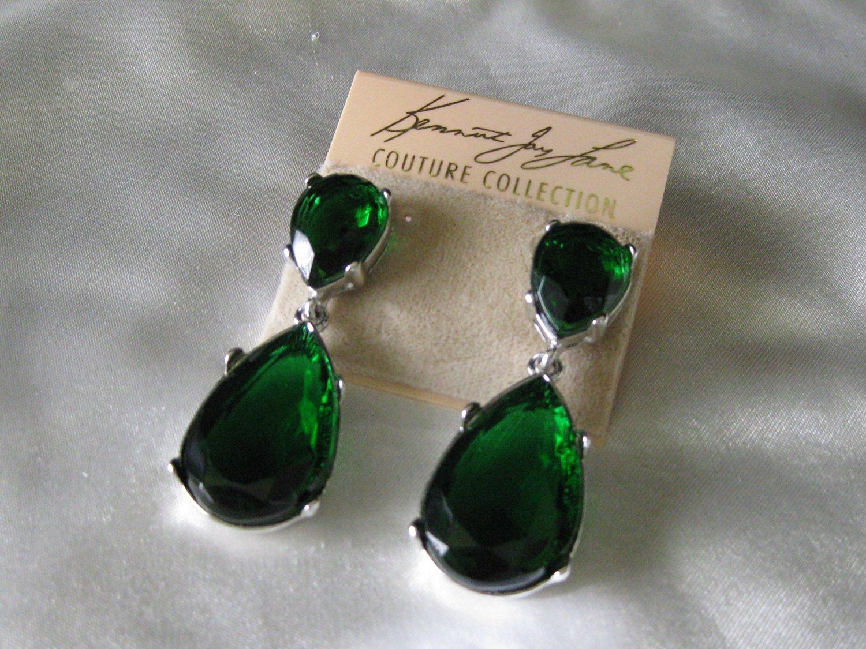 7aa9535c1 Get Quotations · Kenneth Jay Lane Jewelry Emerald Green Swarovski Crystal  Teardrop Pierced Earrings