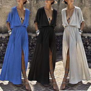 Plus Size 2018 New Women Deep V-Neck Half Sleeves Chiffon Dresses Loose Wide Waist Solid Long Dress Fashion Tops