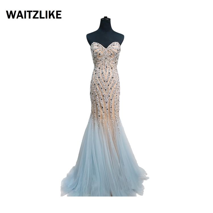 Hoge Kwaliteit trouwjurk mermaid kralen tulle avondjurk lange bling formele kleding