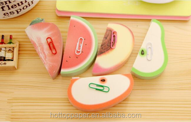 3d fruit shaped memo pad loose leaf notepad with custom logo