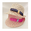 colorful women fashion Straw Fedora Hats with Bow Tie Band