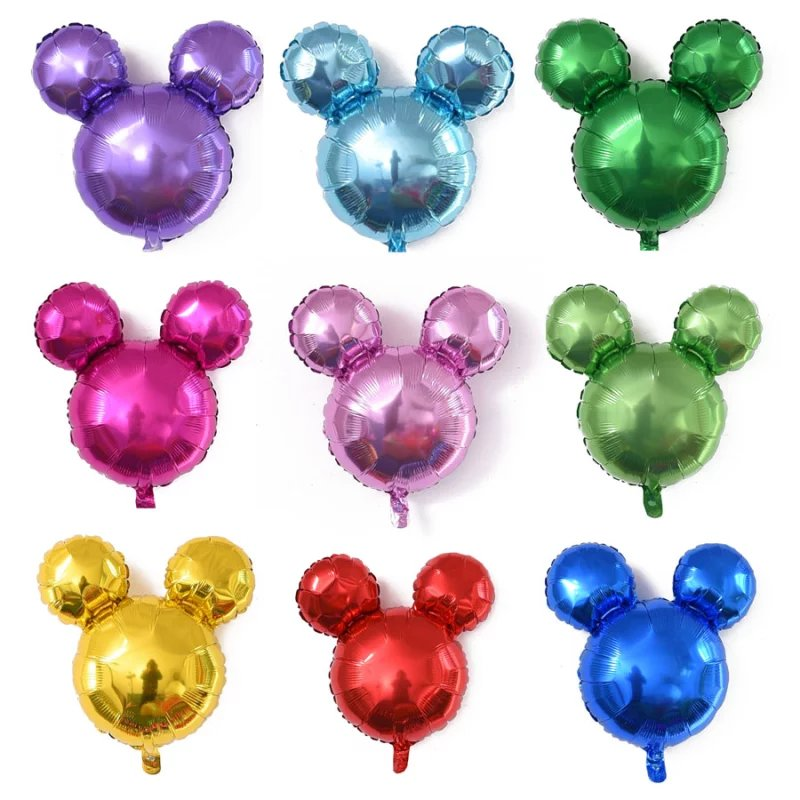 Wholesale 26inch Pure Color Mickey Mouse Head Helium Foil Balloon 10 Colors for Party Decoration Kids Gifts