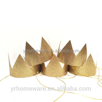Gold Paper Birthday Party Crown Hat For Kids