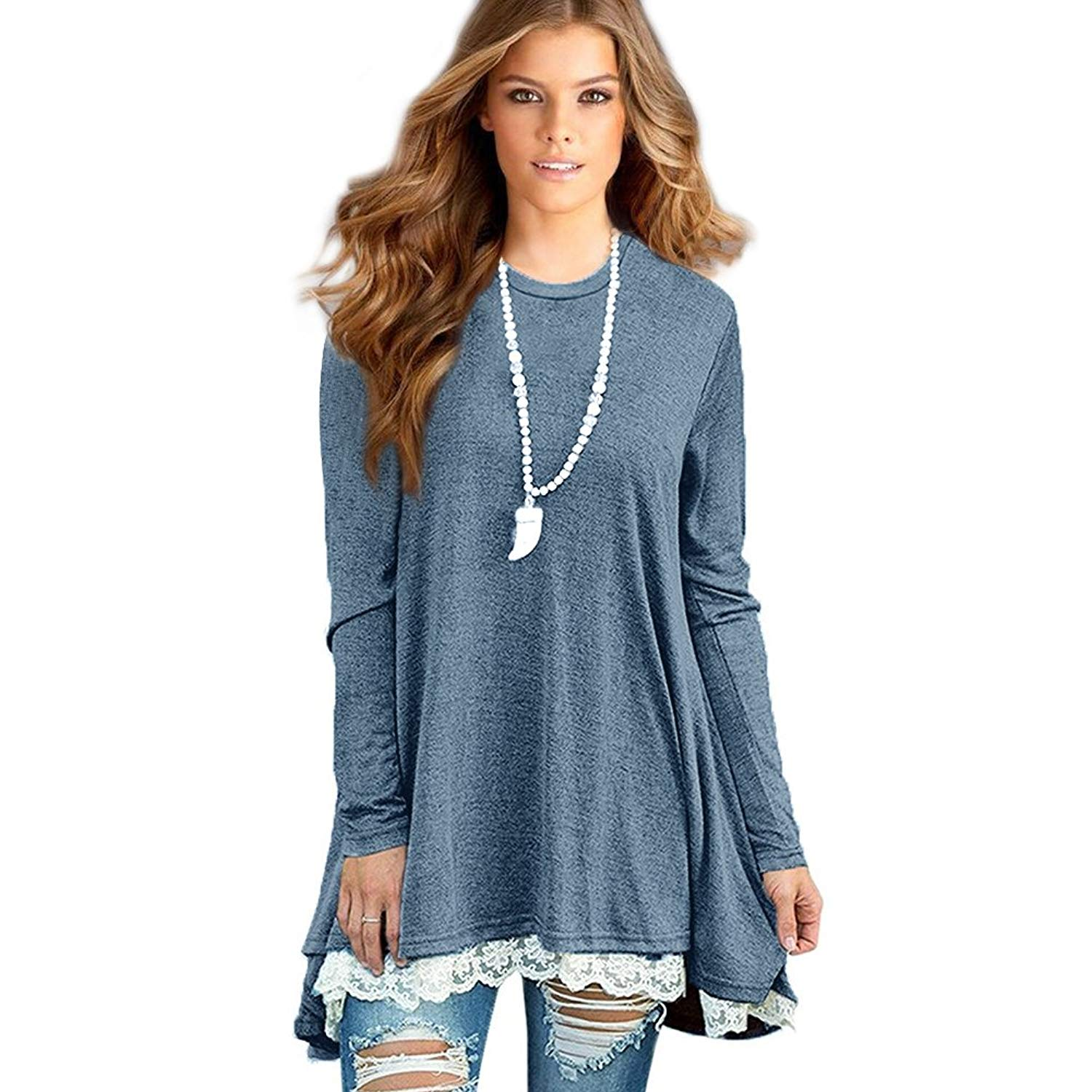 4463536003f Get Quotations · Sunfung Women's Lace Long Sleeve Tunic Tops Shirt Clothing  Scoop Neck Womens Plus Size Tunic Blouses