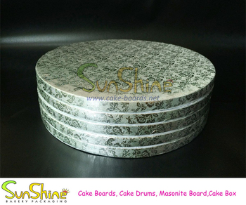 Food grade Corrugated round and square silver cake boards