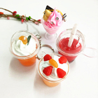 Creative Hot Selling Promotion mini cup shape snow globe keychains fill glitter liquid