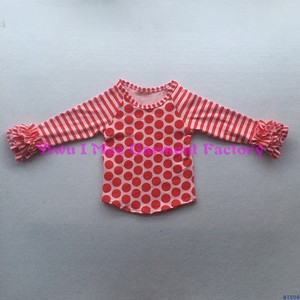100% cotton latest shirt designs for girls t shirt spring wear stripe ruffle raglan baby clothes polka dot body top wholesale