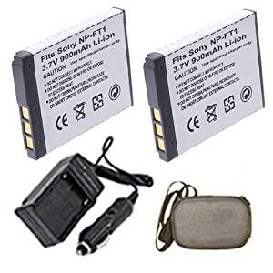 ValuePack (2 Count): Extended Life Replacement Digital Camera and Camcorder Battery PLUS Mini Battery Travel Charger for Sony NP-FT1, NPFT1, Cyber-Shot: DSC-L1, DSC-L1/B - Hard Case Camera Bag