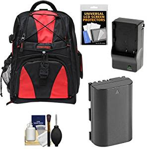 Precision Design Multi-Use Laptop/Tablet Digital SLR Camera Backpack Case (Black/Red) with LP-E6 Battery & Charger + Accessory Kit for Canon 60D, 6D, 7D & 5D Mark II III