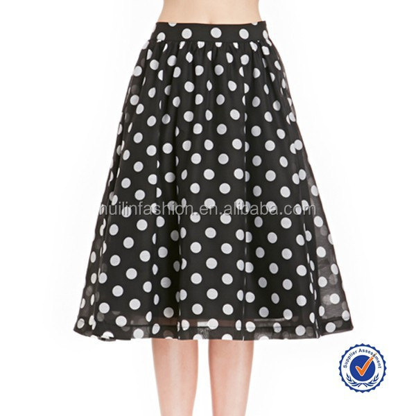 guangzhou clothing factory cheap women fashion skirt tulle skirts with black and white polka dot