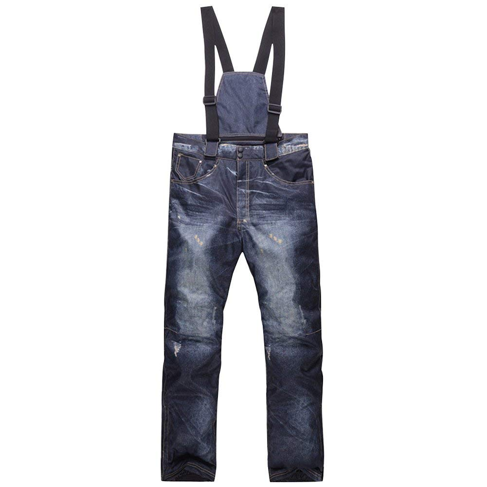 E Support Denim Suspenders Ski Jeans Outdoors Waterproof Pants Ski Trousers Breathable Warm Skiing Snowboarding Pants Mountain Camping Cycling Pants