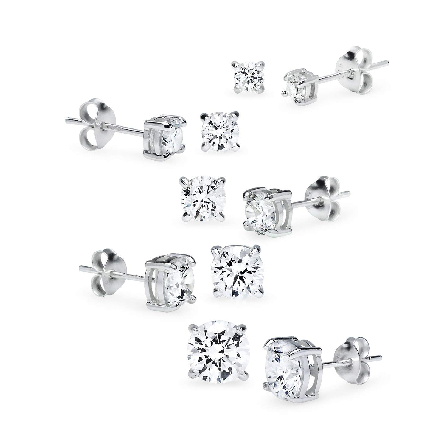 e03ecddab Get Quotations · 925 Sterling Silver 5 Pair Set of CZ Cubic Zirconia  Simulated Diamond Stud Earrings 2mm 3mm