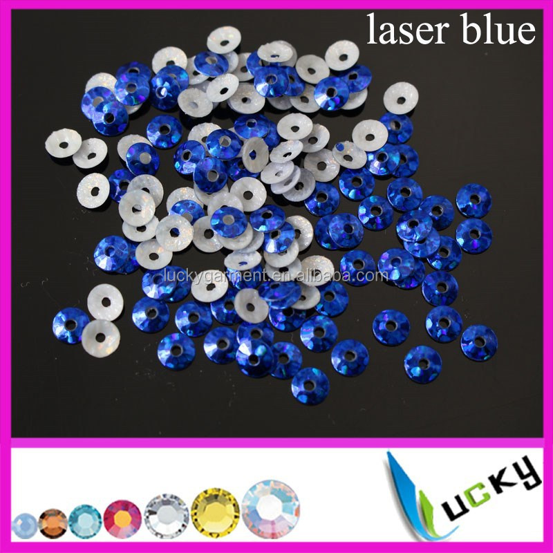 2015 NEWEST design fashion hot fix spangle sequin LASER BLUE middle hole 3mm 4mm 5mm 6mm