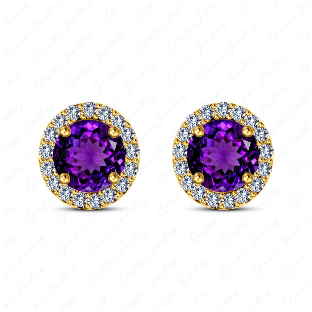 Gemstar Jewellery 18K Yellow Gold Plating Round Shape Amethyst Engagement Solitaire Stud Earrings