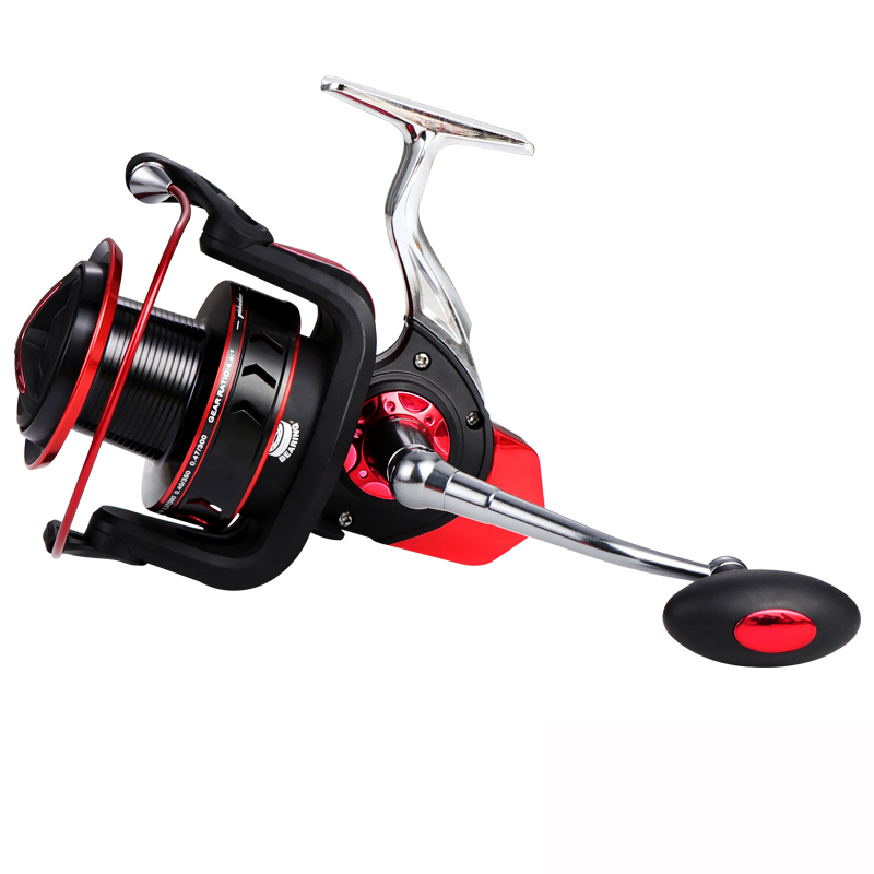 big size 13+1BB metal long spin surf casting fishing reel, Gold / red