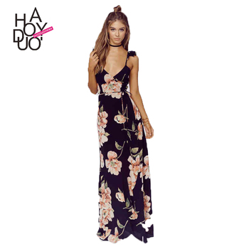 HAODUOYI Fashion Floral Print Dress Women Backless Split Maxi Dress Deep V-neck Sexy Party Bohemian Dresses for Wholesale