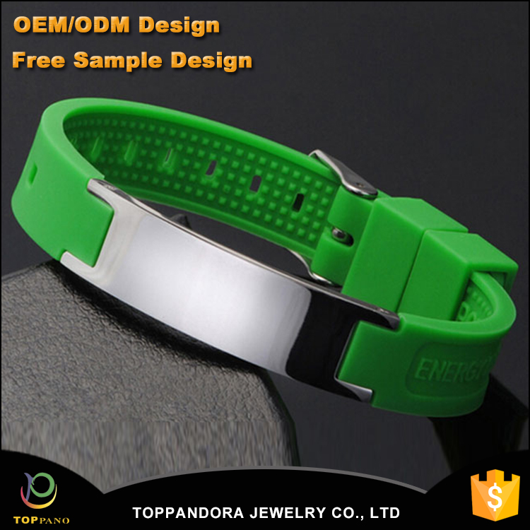 Green (Color) Power Silicone Wristband 4 In 1 Bio Elements Energy Magnetic Bracelet Stainless Steel Clasp For Men Wrist Band