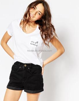 fcd1a7755508 Original Design V-Neck Pocket Girls Blank Ruffle Sleeve V Collar Plain V  Neck T