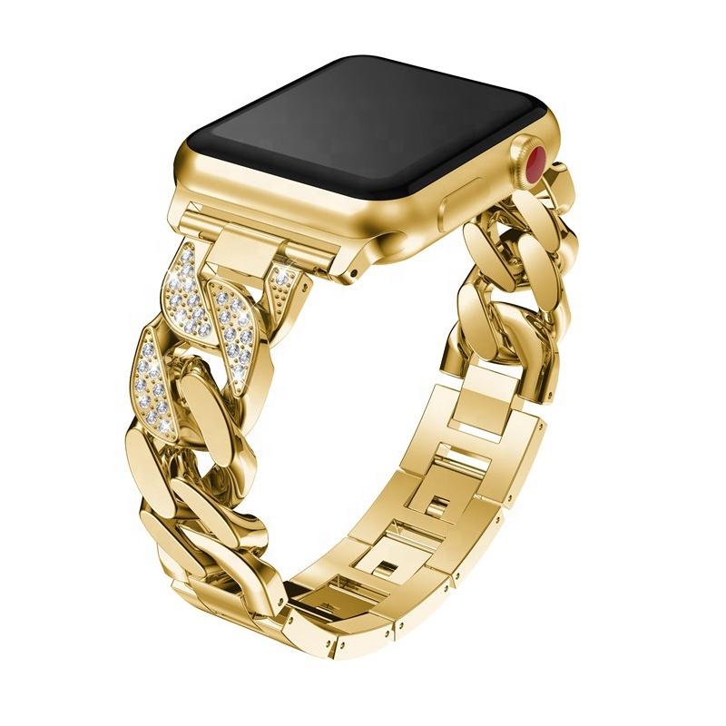 Metal Watch Strap Luxury Chain Bracelet Diamond Bracelet For Apple Watch Band 40mm 44mm