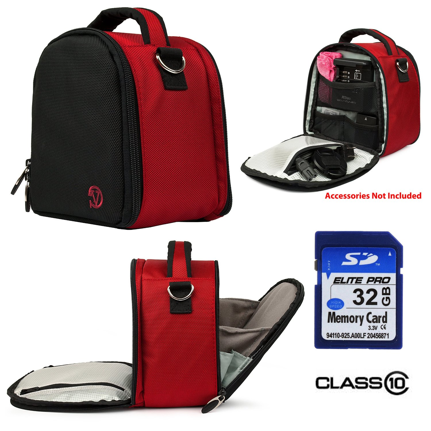 T5 T6s Digital SLR Camera and Screen Protector and Screen Protector and Mini Tripod Nylon SLR Bag Red for Canon EOS Rebel T5i T3i T3i