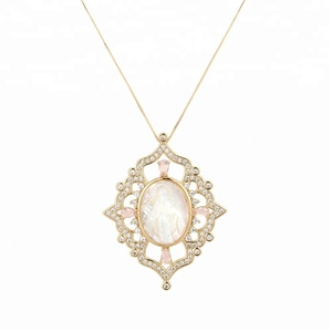 Classic god pendant pink rhinestone cubic zircon gold plated pendant necklace