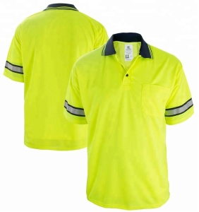 New model shirts 100% polyester high quality hi vis reflective man polo t shirt